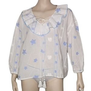 Stars Kiss the Ocean Embroidered Stars Cotton Peasant Bo-Ho